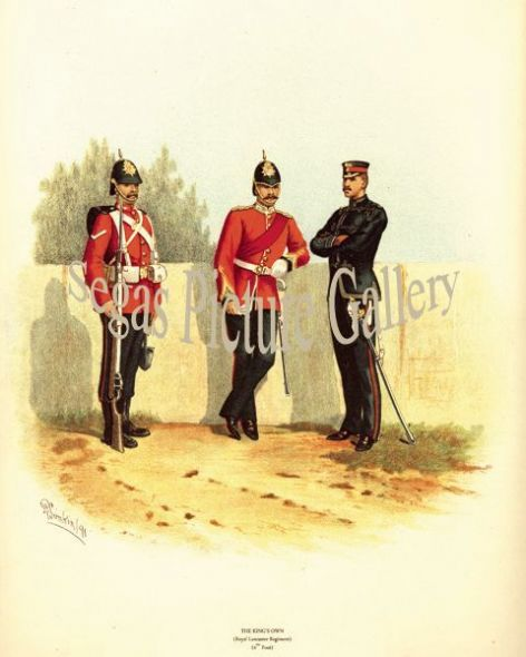 Fine art print of the British Military of The King's Own (Royal Lancaster Regiment) (4th Foot) by Richard Simkin